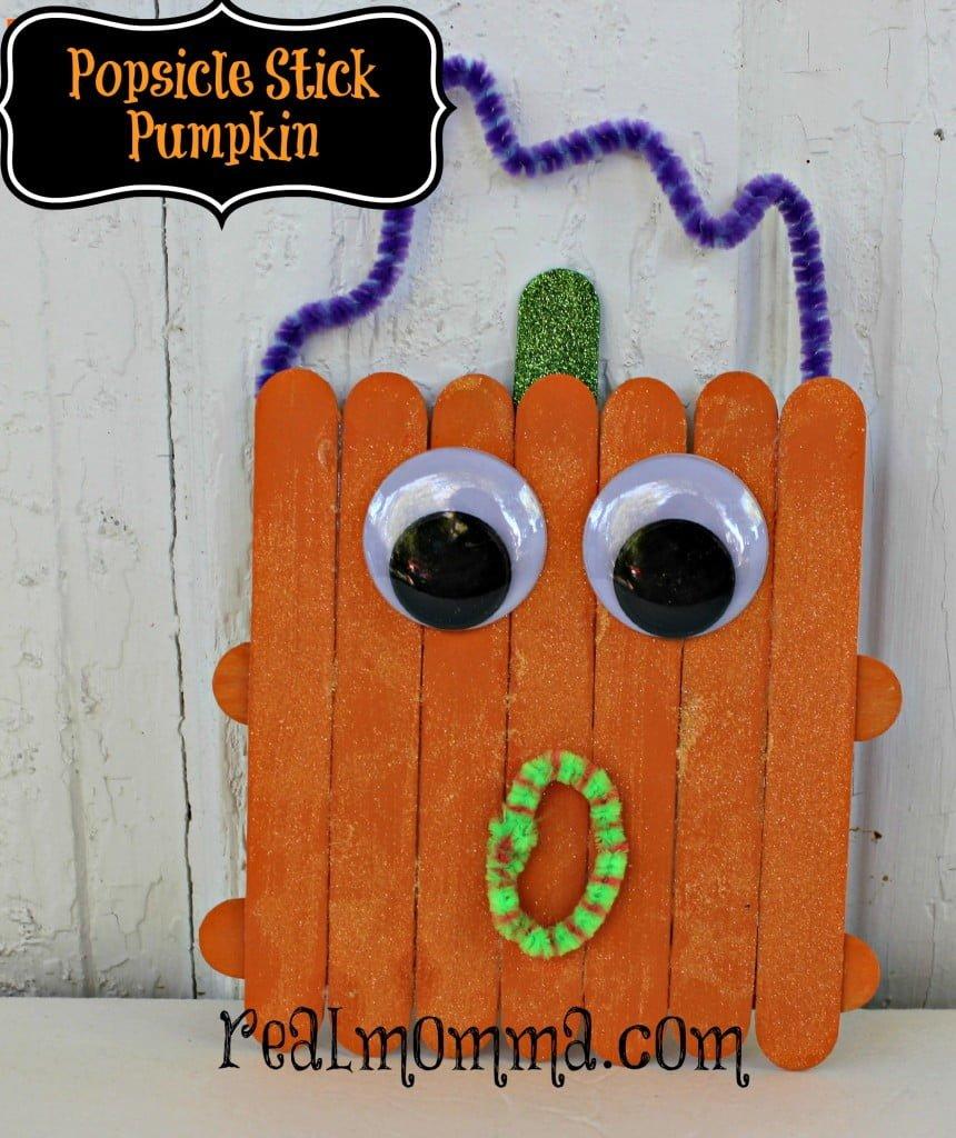 Popsicle stick pumpkin kids craft