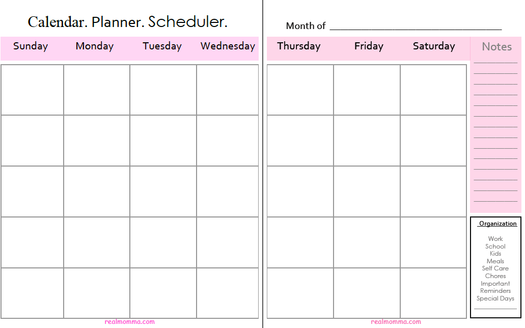 Let's Get Organized Monthly Calendar