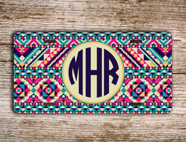 Navajo license plate monogram