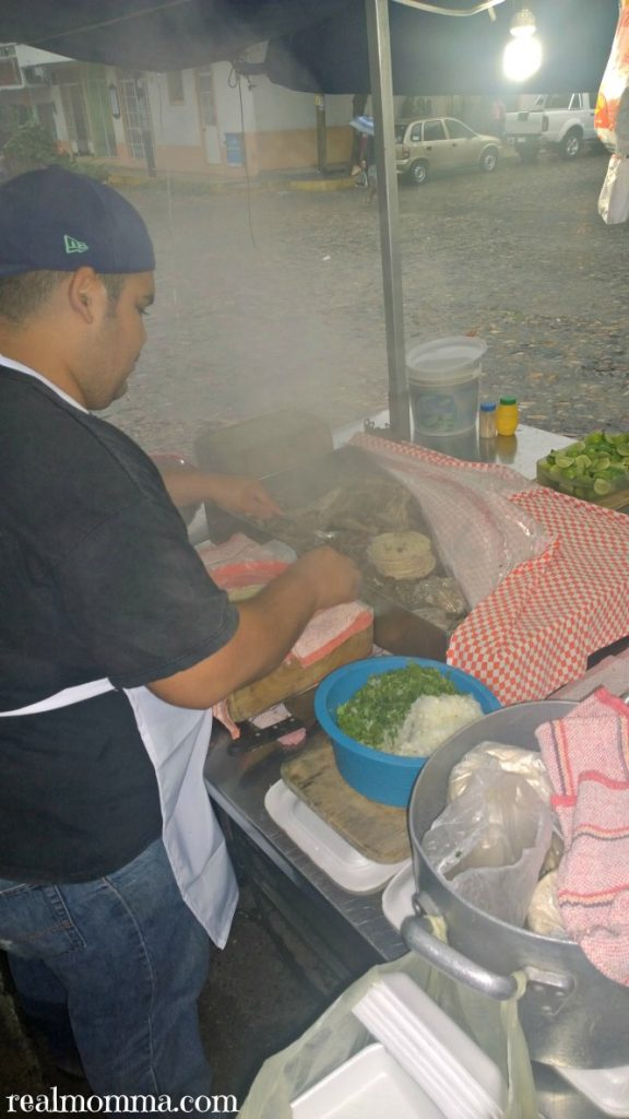 Fresh ingredients at taco stand