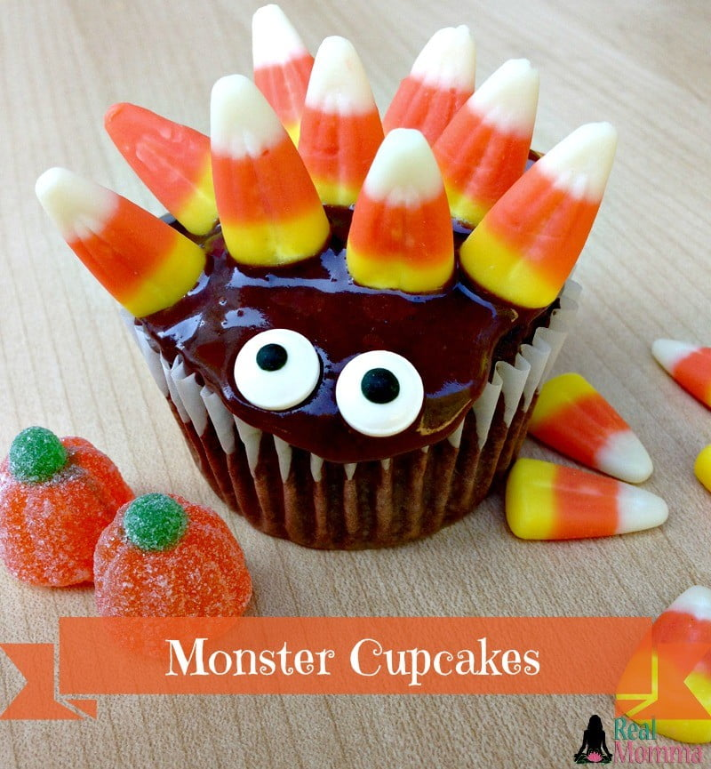 Candy Corn Monster Cupcakes