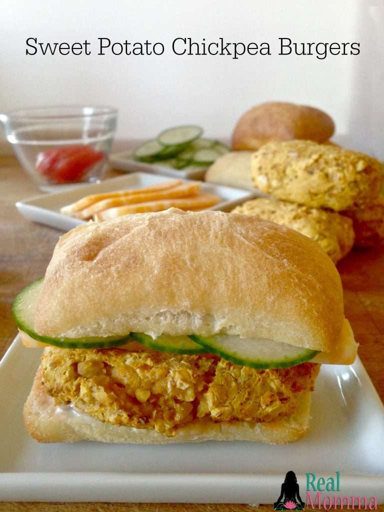 Quick and Easy Sweet Potato Chickpea Burgers