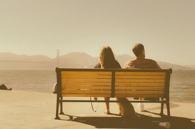 bench sea sunny man