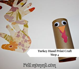 Turkey Hand Print Craft Step 4