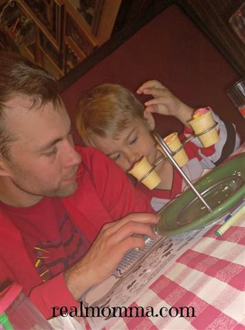 Family Dinner Out enjoy dessert