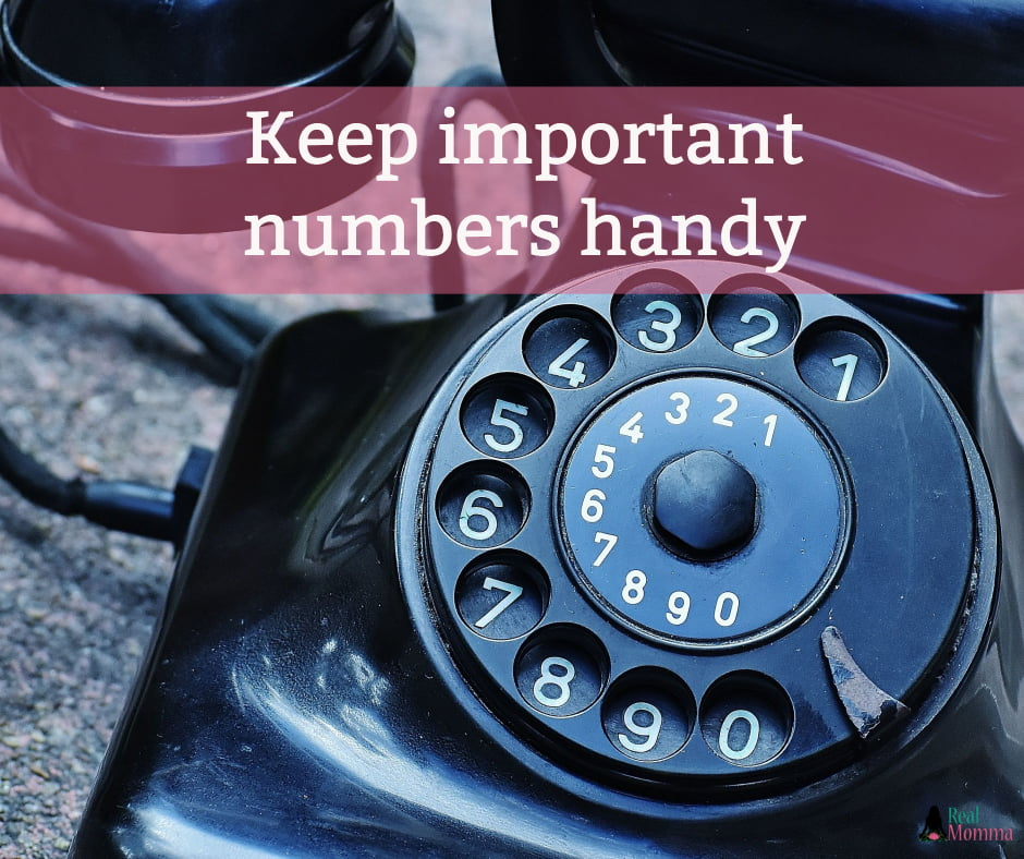 Keep important numbers handy