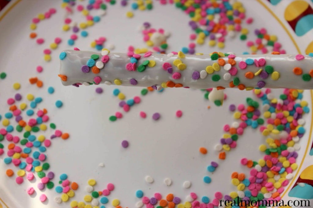 Sprinkles for the pretzel rods