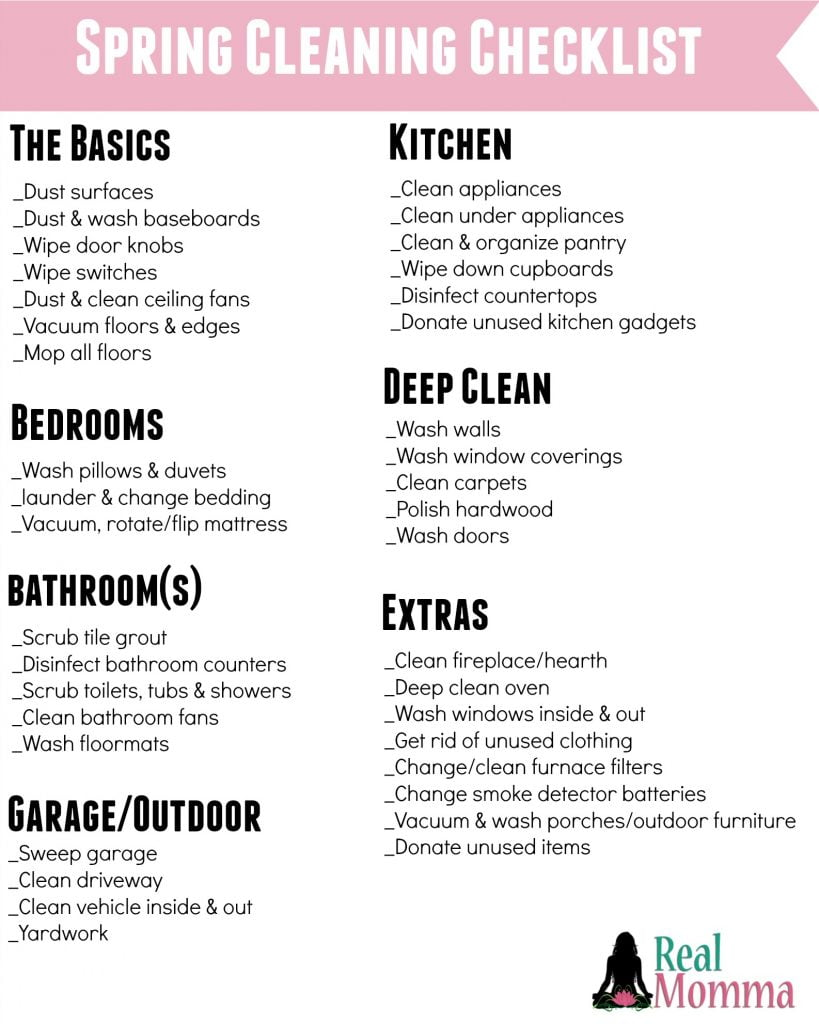 Real Momma Spring Cleaning Checklist