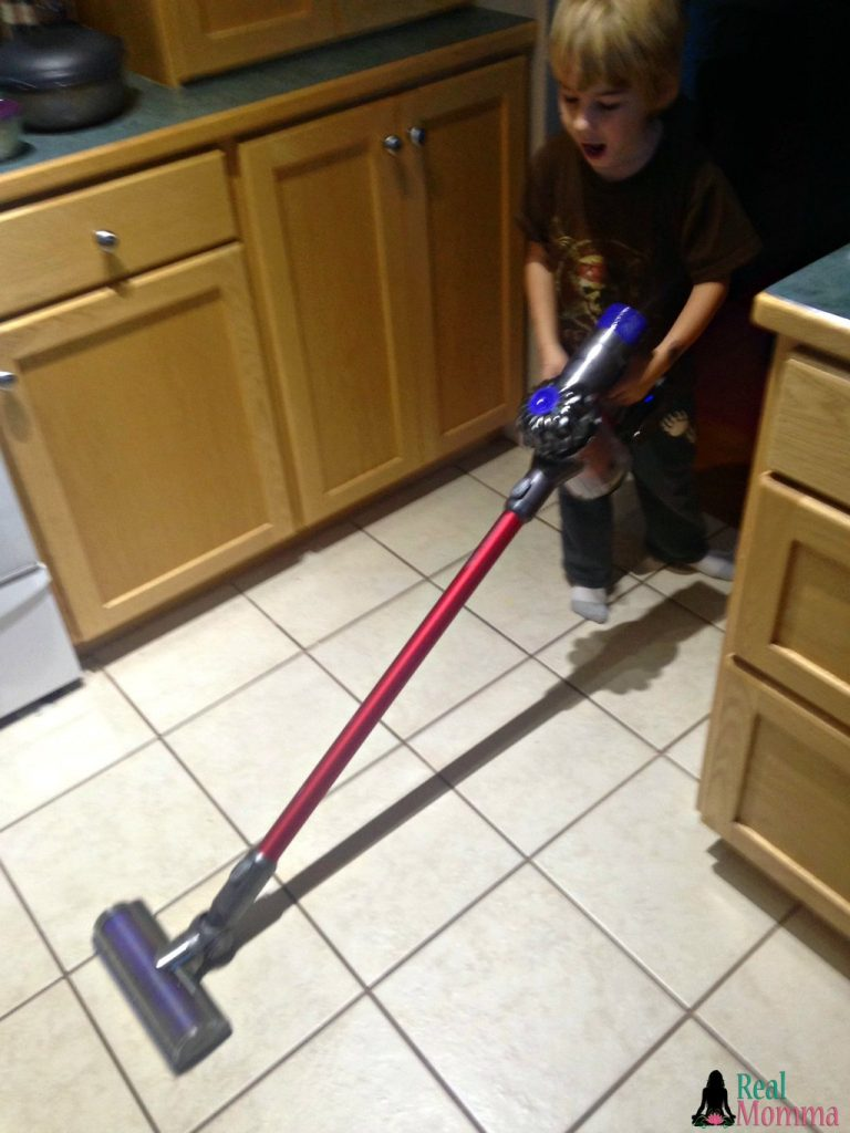 Dustin using the Dyson V6 Absolute