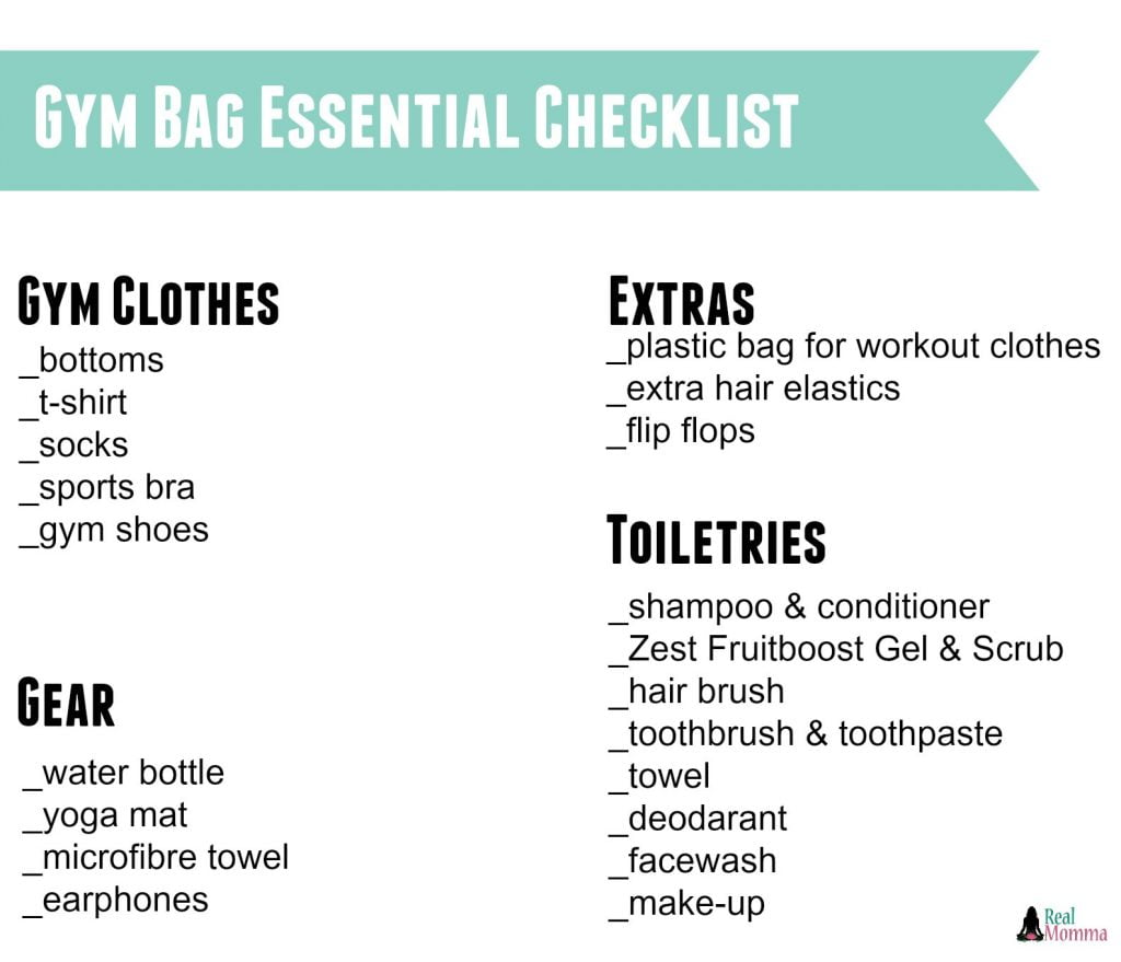 gym bag essential checklist
