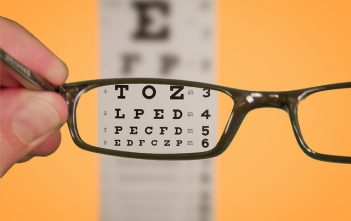 Vision of Eye chart with Glasses