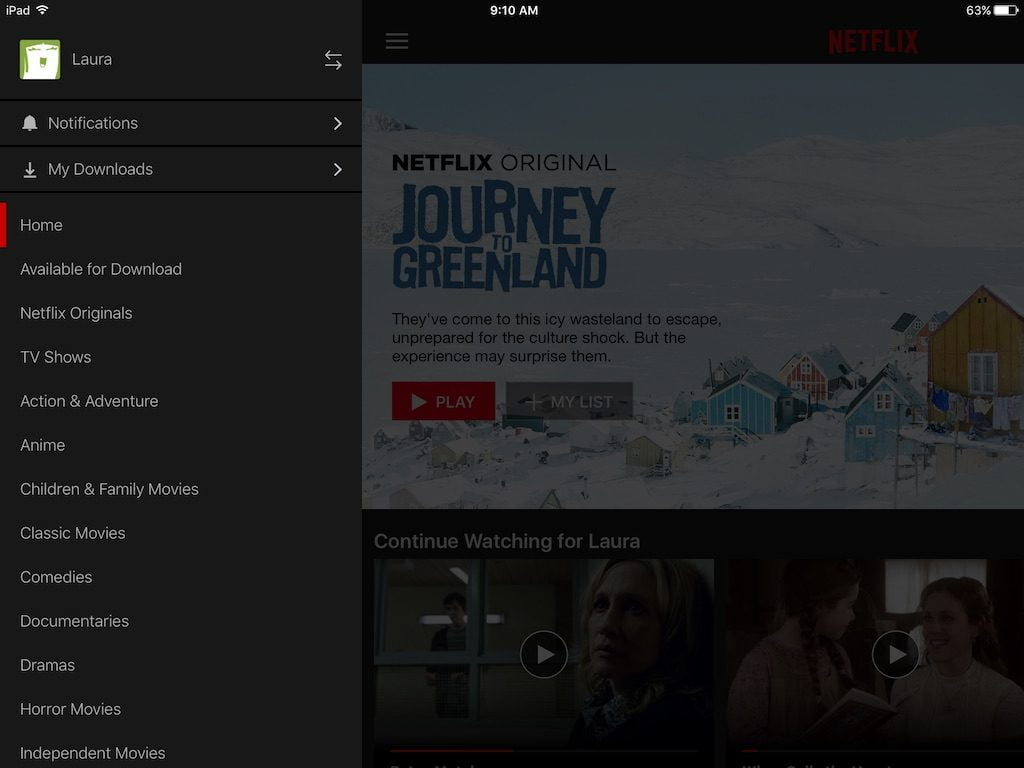 Netflix Download Menu