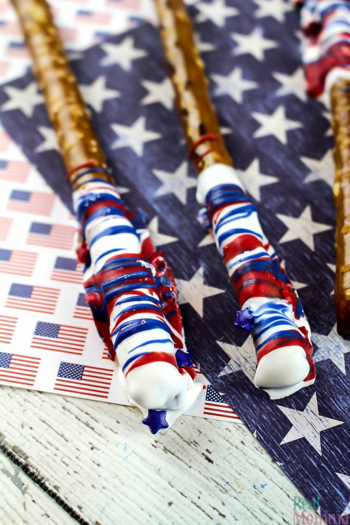 Patriotic Chocolate Pretzel Rods