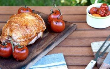 cedar plank grilled turkey breast roast ED final LRCedar Plank Grilled Turkey Breast Roast with Charred Tomato Salsa Recipe