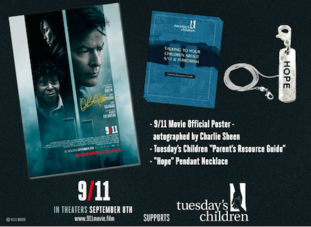 911 Film Charlie Sheen Autographed Poster and Gift Pack