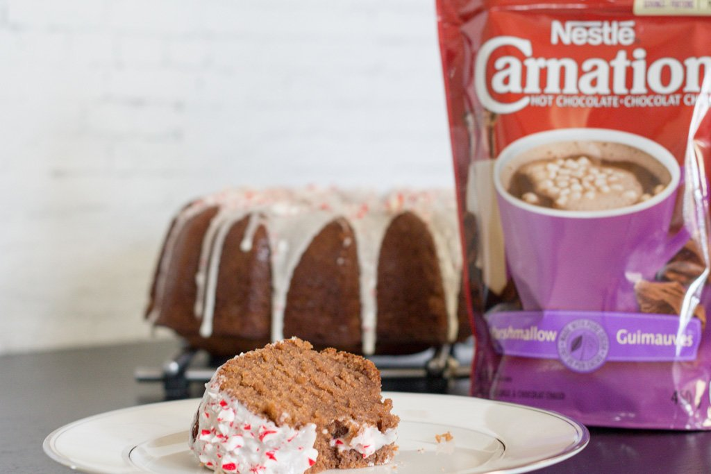 Carnation Hot Chocolate Bundt Cake with Candy Cane Frosting
