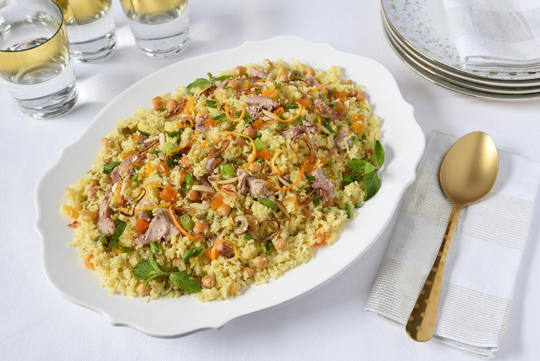 One Pan Turkey Pilaf with Olives Orange and Apricots Recipe