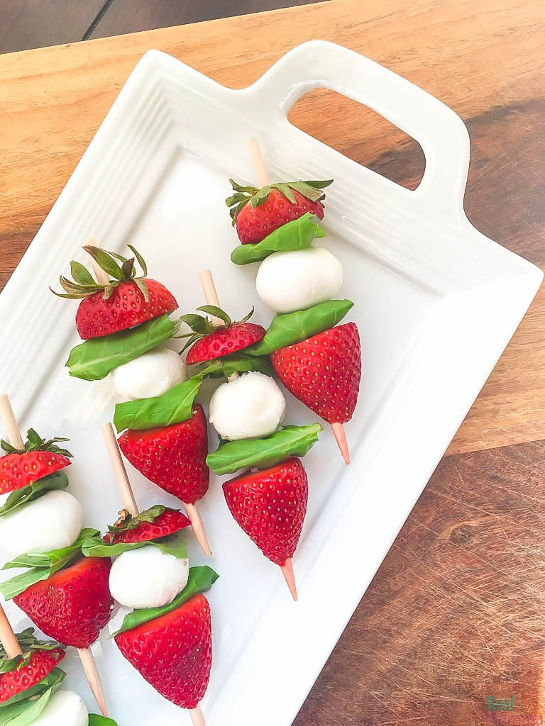 Quick and Easy Strawberry Caprese Skewers with Balsamic Glaze