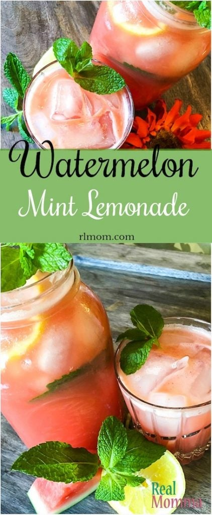 Quick and Easy Watermelon Mint Lemonade.  While the watermelon adds a lot of sweetness you may not wish to sweeten it further so I've included the mint-infused simple syrup recipe we use.